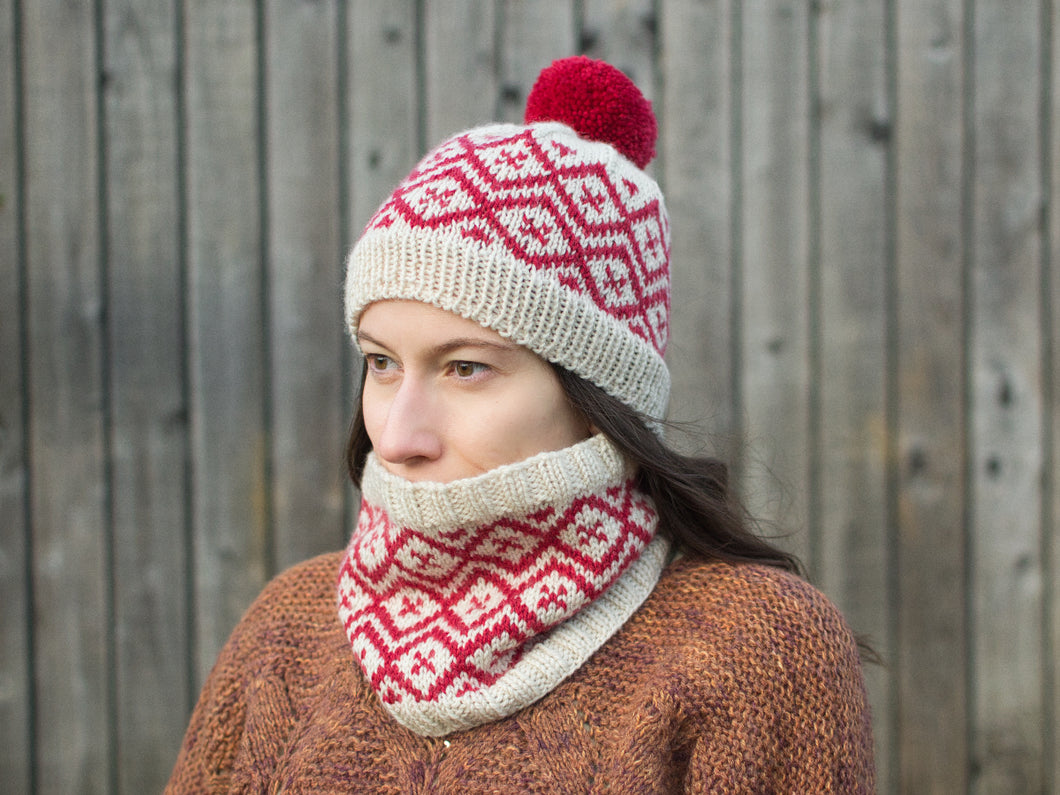 Snowpane Hat and Cowl knitting pattern
