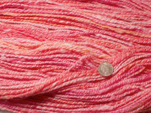 Load image into Gallery viewer, Cocktail – Hand-spun Pure Wool yarn in bright pink/peach (100g)