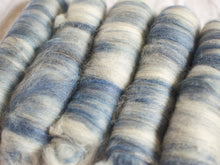 Load image into Gallery viewer, Nautic – blue and white batts – Bluefaced Leicester and alpaca fibre (32 g)