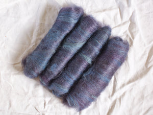 Starlit – Dark blue and purple batts – Mohair and alpaca fibre (32 g)
