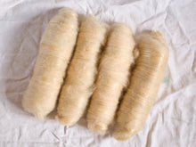 Load image into Gallery viewer, Tea and Oak – Naturally dyed batts – Shetland, mohair and tencel fibre (50 g)