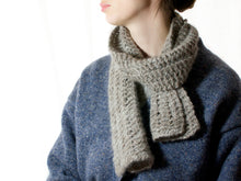 Load image into Gallery viewer, Wool/Angora Knitted Scarf in Warm Grey