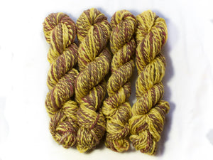 Sunsoaked – Hand-spun Bluefaced Leicester wool and Soy in yellow and earth tones (50g)