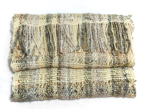 Hand-woven blanket scarf in naturally dyed fibres