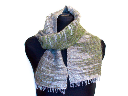 Woven scarf in grey and green wool/alpaca/soy fibre