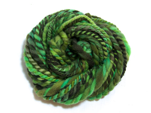 Money Jungle – Hand-spun Wool Yarn in Green and Brown (60g)
