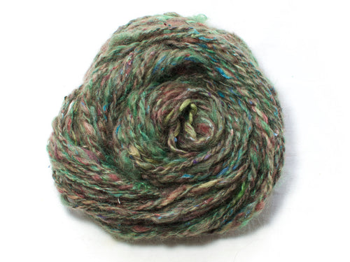 Eagle Nebula – Hand-spun Mohair, BFL, Soy and Silk Yarn in Teal, Green and Purple (75g)