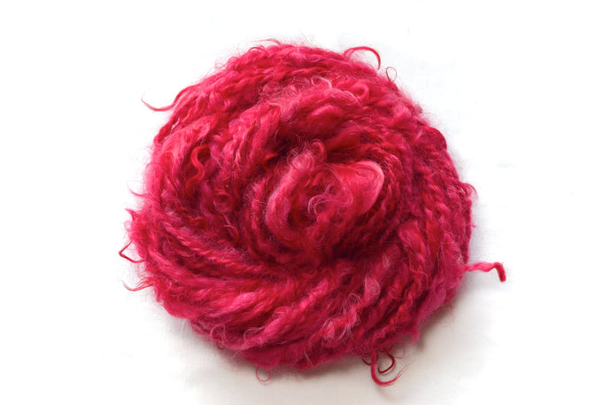 Carnation – Hand-spun Mohair Yarn in Red (100g)