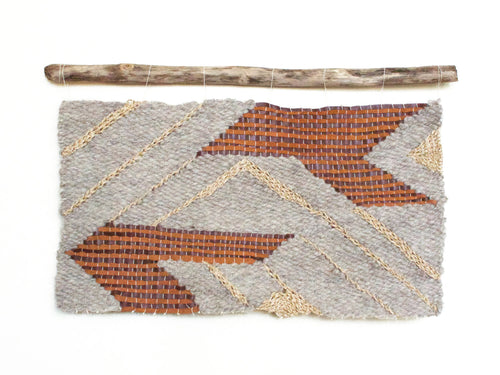Geometric Tapestry Wall Hanging in grey, brown leather and gold