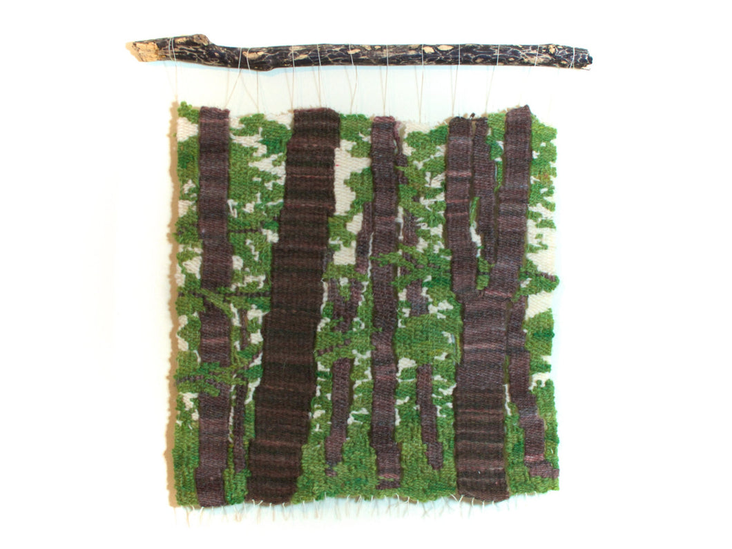 Woodland Scene Tapestry Wall Hanging in green, white and brown
