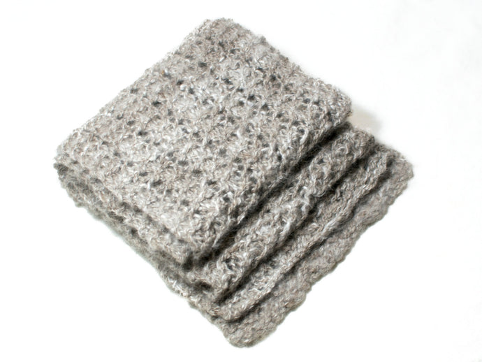Wool/Angora Knitted Scarf in Warm Grey