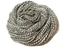 Load image into Gallery viewer, Body and Soul – Undyed Marl Hand-spun Wool and Linen Art Yarn in grey, cream and beige (100g)