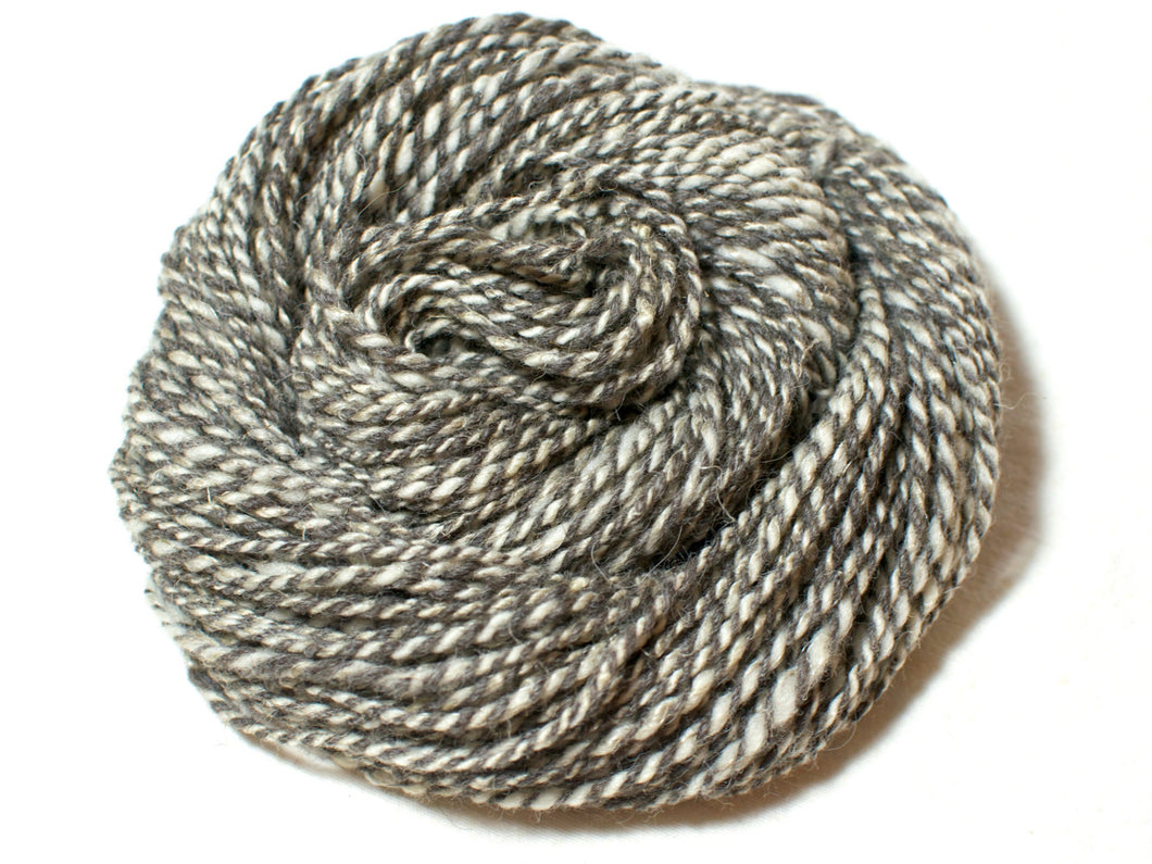 Body and Soul – Undyed Marl Hand-spun Wool and Linen Art Yarn in grey, cream and beige (100g)