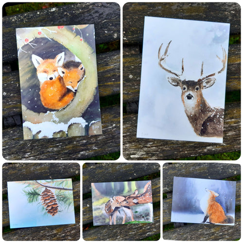 Artist Postcards Printed from Original Watercolour Paintings - Cristmas Woodland Theme | Pinecone, Deer, Stag, Fox | Forest | Individual/Set