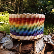 Load image into Gallery viewer, Large Rainbow Rattan Storage Basket | Unique | Handwoven | Handdyed | Kids Room Storage