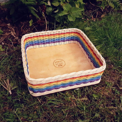 Rainbow Square Flat Basket Hand-woven from Rattan/Centre Cane | Large | Hand-dyed | Natural Crafts