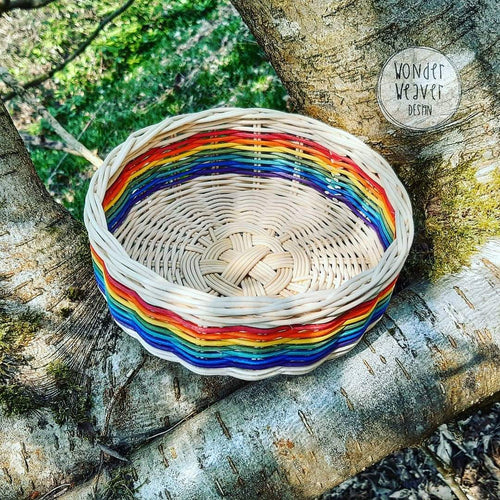 Rainbow Flat Basket Hand-woven from Rattan/Centre Cane | Large | Hand-dyed | Natural Crafts
