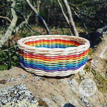 Load image into Gallery viewer, Rainbow Flat Basket Hand-woven from Rattan/Centre Cane | Large | Hand-dyed | Natural Crafts