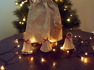 Christmas DIY Basketry Kit | Bells - Natural | Rattan/Cane, Make Your Own | WonderWeaver Design | Kid's Craft | Christmas Craft | Ornament