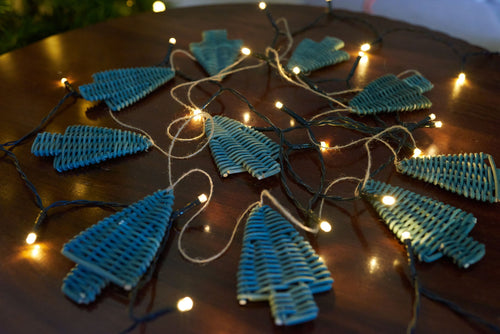 Christmas DIY Basketry Kit | Rattan Tree Garland Green | Make Your Own | WonderWeaver Design | Craft Kit | Christmas Decor | Christmas Tree