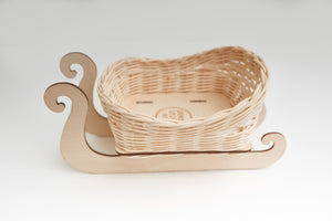 Christmas DIY Basketry Kit | Santa's Sleigh - Natural | Rattan/Cane, Make Your Own | WonderWeaver Design | Craft Kit | Christmas Decoration