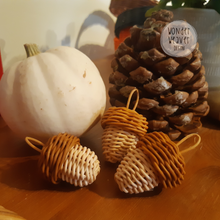 Load image into Gallery viewer, Mini Rattan Acorn | Autumn/Christmas Decor | WonderWeaver Design | Handmade | Handwoven | Hand-dyed