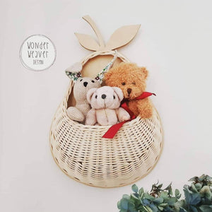 Pear-shaped Rattan Wall Basket | Toy Storage | Handwoven