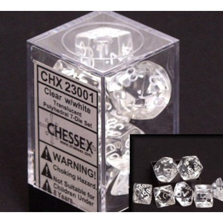 Chessex Dice - Translucent: Poly Set Clear/White (7)