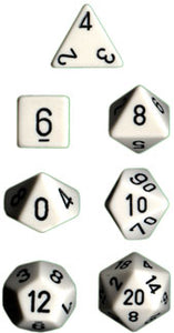 Chessex Dice - Opaque: Poly Set White/Black (7)
