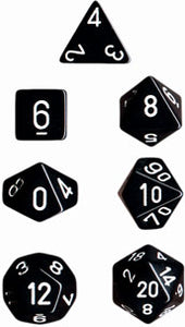 Chessex Dice - Opaque: Poly Set Black/White (7)
