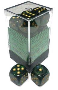 Chessex Dice - Scarab: 16mm d6 Jade/Gold/Black (12)