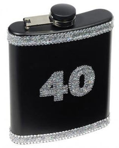 40th Birthday Black and Diamond Flask