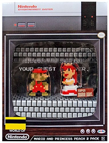 World of Nintendo Super Mario and Princess Peach 8-Bit Mini-Figures 2-Pack