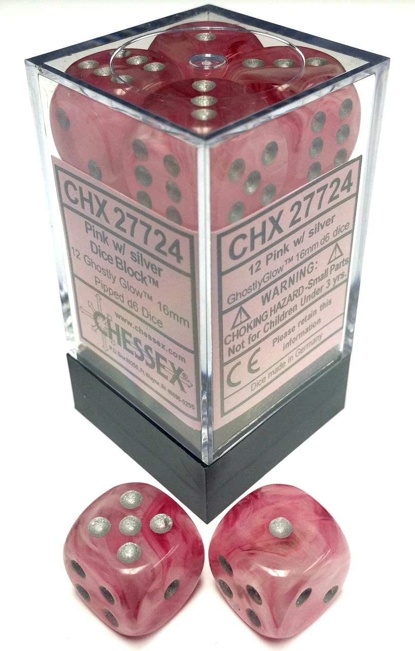 Chessex Dice - Ghostly Glow: 16mm d6 Pink/Silver (12)