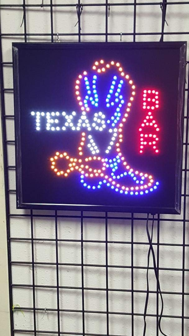 LED Animated Sign - Texas Bar (with Cowboy Boot)