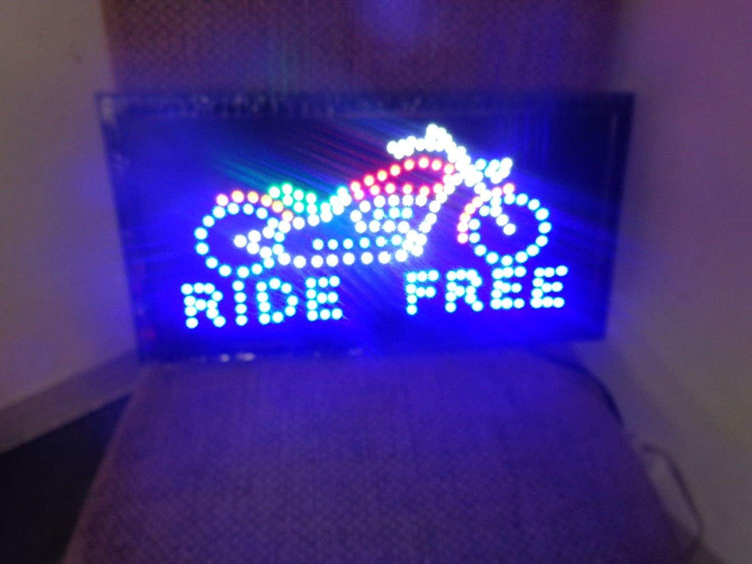 LED Animated Sign - Motorcycle - Ride Free