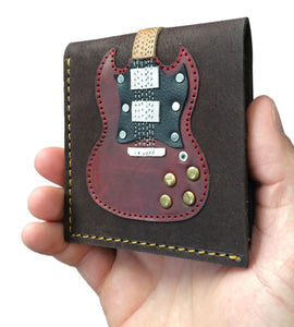 Double Cutaway Guitar Wallet - Handmade from Genuine Leather