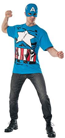 Captain America T-Shirt with Mask, X-Large