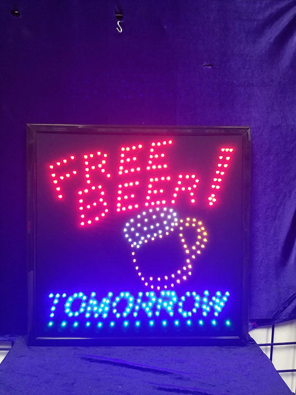 LED Animated Sign - FREE Beer Tomorrow