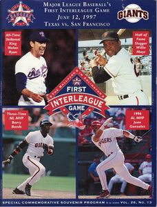 Major League Baseball's First Interleague Game, June 12, 1997, Texas vs. San Francisco. Special Commemorative Souvenir Program