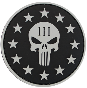 Round Black Punisher (with stars) PVC Patch