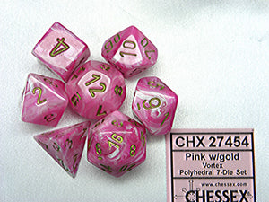 Chessex Dice - Vortex: Poly Set Pink/Gold (7)