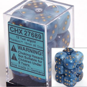 Chessex Dice - Phantom: 16mm d6 Teal/Gold (12)