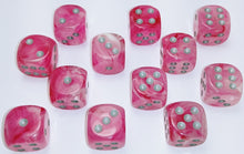 Load image into Gallery viewer, Chessex Dice - Ghostly Glow: 16mm d6 Pink/Silver (12)