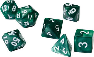 RPG Dice Set (7): Pearl Green Acrylic