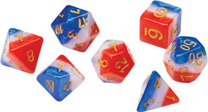RPG Dice Set (7): Red, White, and Blue Semi-Transparent Resin