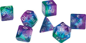 RPG Dice Set (7): Blue Aurora Semi-Transparent Resin