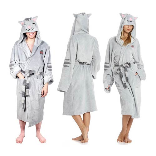 The Big Bang Theory Soft Kitty Gray Hooded Plush Robe