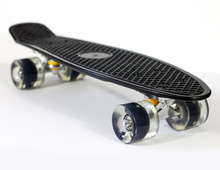 Load image into Gallery viewer, Black Skateboard with Flashing Wheels