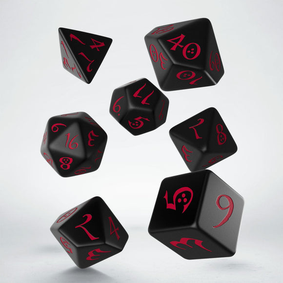 Classic RPG Dice Set (7) - Black with Red Numbers